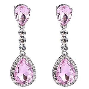 BriLove Women's Wedding Bridal Crystal Teardrop Infinity Figure 8 Chandelier Dangle Earrings