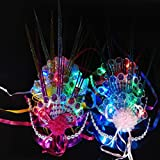 LED Party Mask,Colorful Fluorescent Peacock Raindrop / Electroplating Glowing Butterfly Mask Masquerade Party Princess Mask (A)