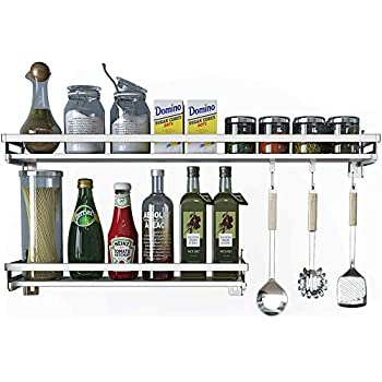Eastore Life Wall Mounted Spice Rack with 4 Hooks - 304 Stainless Steel Seasoning Storage Shelf for Kitchen, Easy to Assemble, 23.6-Inch