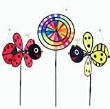 ASWCOWY Pinwheels Windmills Wind Spinners 3 Pack Made of Durable 100% Weatherproof Nylon and Fiberglass Children's Toys Outdoor Camping Kindergarten Garden Lawn Yard Decor (style2)