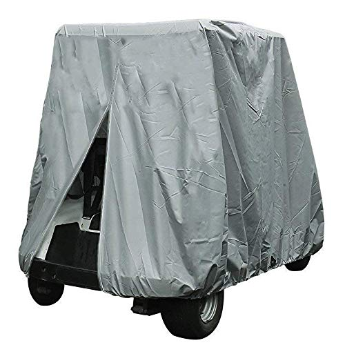 FLYMEI 4 Passenger Golf Cart Cover, Waterproof Golf Cart Cover for EZ GO Club Car Yamaha Golf Carts, Sunproof Dustproof 4 Seat Club Car Cover, Grey (Up to 112 Inch) (Best Price Golf Cart Bags)