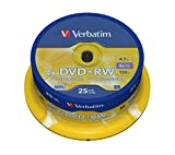 Verbatim 43489 4.7GB 4x Matt Silver DVD+RW - 25 Pack Spindl