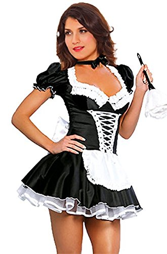 JJ-GOGO Women's French Maid Costume Sexy Black Satin Halloween Fancy Dress S-5XL