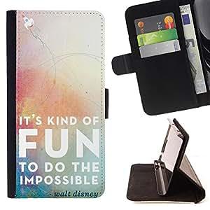 - It Kind of Fun To do the impossible - - Monedero pared Design Premium cuero del tir?n magn?tico delgado del caso de la cubierta pata de ca FOR Sony Xperia Z3 Compact Funny House