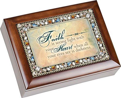 Faith Heart Inspirational Jewel Musical Music Jewelry Box with Dark Wood Finish Plays How Great Thou Art