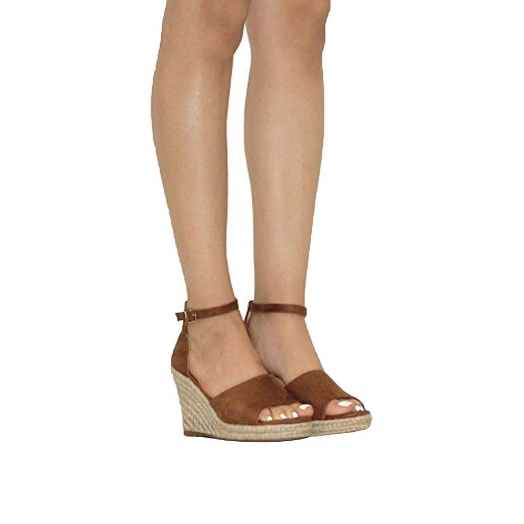 Sandals THENLIAN Women Summer Buckle Ankle Strap Sandals Fish Mouth Wedges Sandals Lady Breathable Shoes(40, Brown)