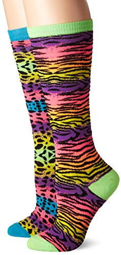 3C4G It Takes Two Knee Socks, Neon Bright Animal Prints, Shoe size 13-6