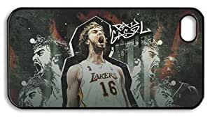 LZHCASE Personalized Protective Case for iPhone 4/4S - Pau Gasol, NBA Los Angeles Lakers