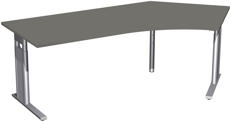 Geramöbel Schreibtisch 135° rechts höhenverstellbar, C Fuß Blende optional, 2166x1130x680-820, Graphit/Silber