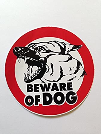 Amazoncom Beware Of Dog Sign Sticker For Car Window Bumper - Window alert decals amazon