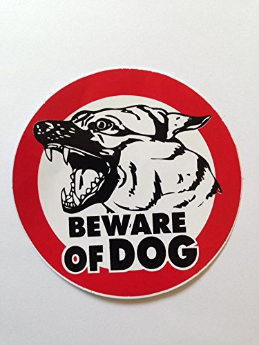 Beware of Dog Sign Sticker for Car Window Bumper Laptop Security Warning Alert Sticker Decals 10cm.
