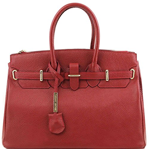 Tuscany Leather - TL Bag - Sac à main pour femme avec finitions couleur or - Rouge
