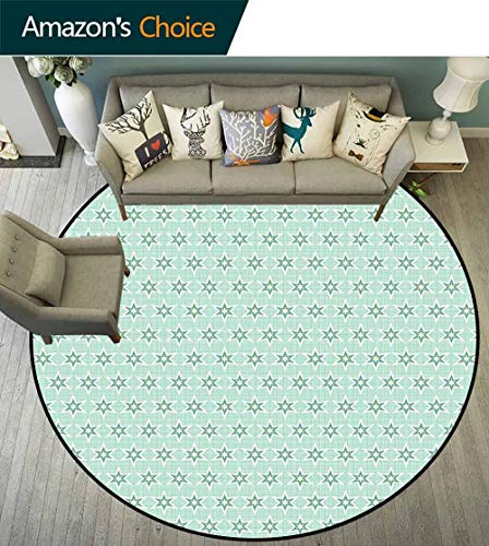 Green Round Rug Classroom,Stylized Stars Vintage Pattern Retro Colors Seventies Style Durable and Resistant to Soiling,Mint Green Hunter Green Light Yellow,D-55