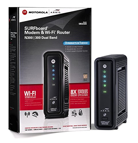 ARRIS SURFboard SBG6580 DOCSIS 3.0 Cable Modem/ Wi-Fi N300/N300 Dual Band Router – Retail Packaging Black (570763-006-00)