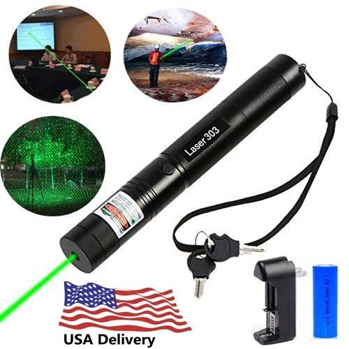 Laser High Power Green (SYX Tactical Green Hunting Rifle Scope Sight Laser Pen, Demo Remote Pen Pointer Projector Travel Outdoor Flashlight, LED interactive baton funny laser toy pet toys)