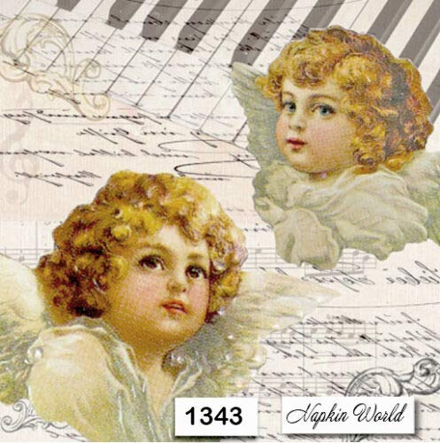 (1343) Two Individual Paper Luncheon Decoupage Napkins - Angels Music Piano