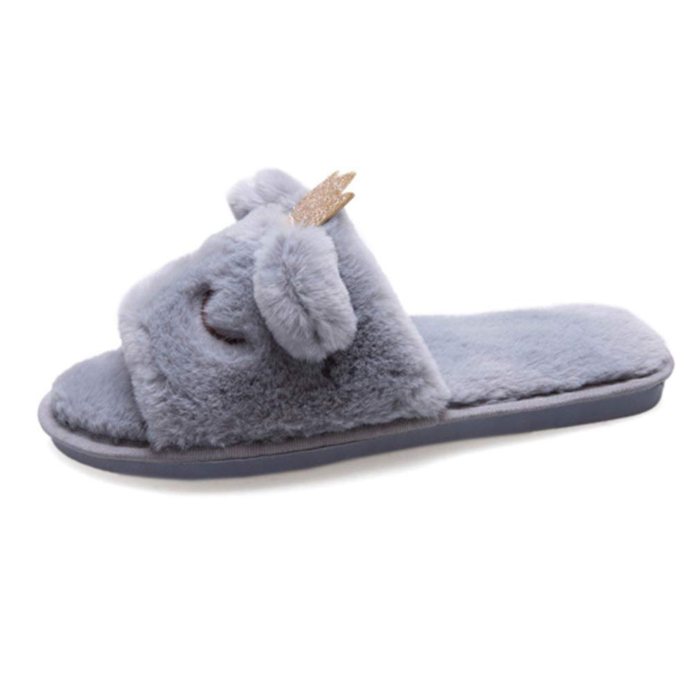 88c1e10e0051b Women Open Toe House Slippers Unicorn Slides Fur Animal Soft Gifts