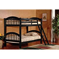 Wood Arched Design Twin Over Twin Size Convertible Bunk Bed With Ladder (Black)