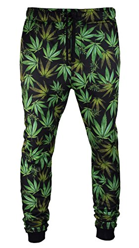 Men-Weed-Joggers-Black-Green-Pants-Fleece-Elastic-Waist-Stretch-Jogger-Trousers