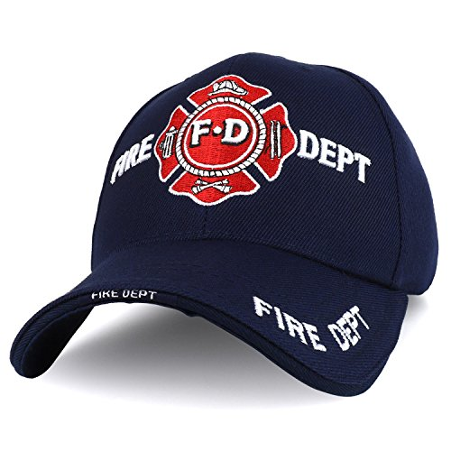 Trendy Apparel Shop Fire FD Solid Color 3D Embroidered Baseball Cap - Navy 4057c7e5bc2b