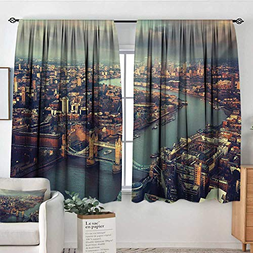 Mozenou London Waterproof Window Curtain Panoramic Picture of Thames River and Tower Bridge Famous Cityscape Bedroom Blackout Curtains 55