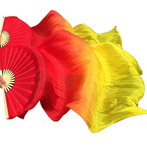 Nimiman New Arrivals Elegant 100% Real Belly Dance Silk Veils Bamboo Fan (red-orange-yellow)