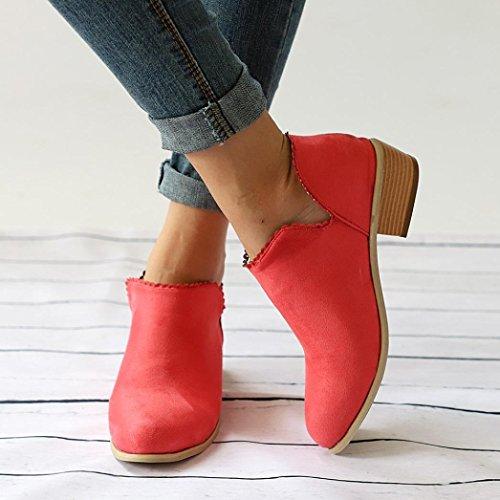 Long zahuihuiM Mode Courtes Bottes Bout Classique Couleur Rouge Rond Mi Femmes Automne Unie Chaussures rrgqnzwTa