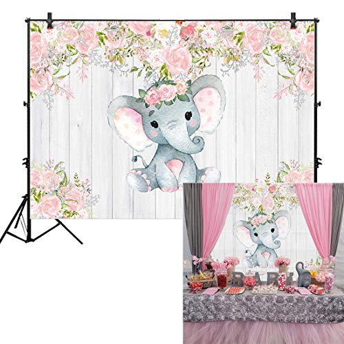 Allenjoy 7x5ft Rustic Floral Elephant Backdrop for Baby Shower Party Pink Flower Wood It's a Girl Banner Birthday Photography Background Cake Table Decoration Photo Booth Studio Props Favors Supplies -