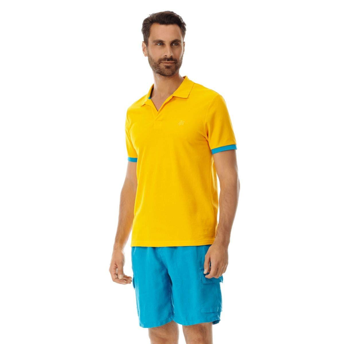 Mango XL Vilebrequin - Polo Homme uni piqué de Coton