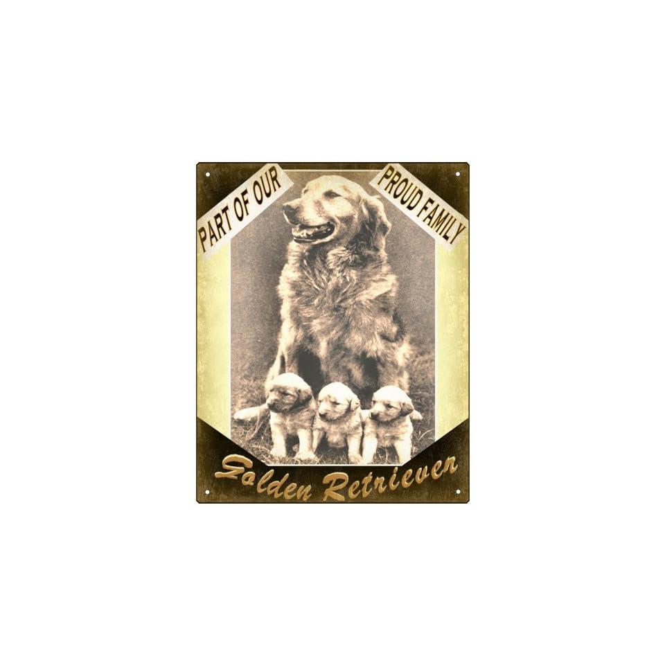 Golden retriever Dog sign cute puppy family art
