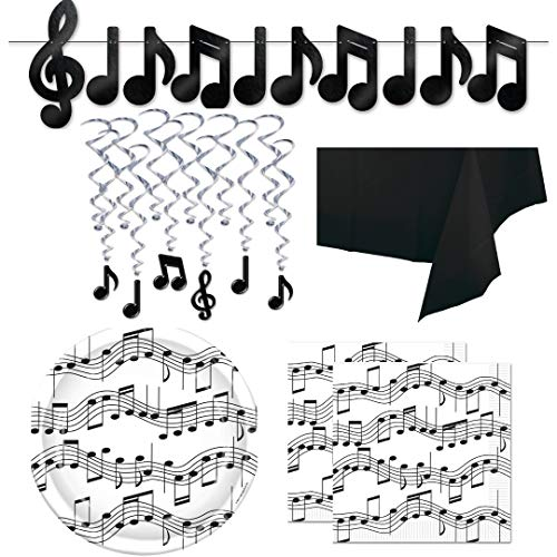 (Music Note Musical Theme Party Supplies, Serves 16: Plates, Napkins, Table Cover, Streamer Banner, Hanging Whirls Decorations, Wildflower Party Planner)