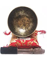 NHZ Antique Color High Quality Tibetan Singing Bowl Sets -With Free Cushion & Mallet- Meditation, Chakra Healing,Yoga, Mindfulness, Relaxation