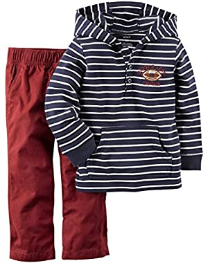 Carter's 2 Piece Striped Top Set (229g011), Blue/White, 18 Months
