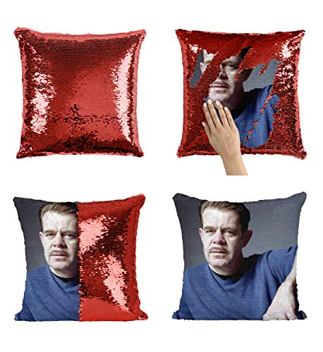 William H. Macy Actor Mustache_MA0371 Pillow Cover Sequin Mermaid Flip Reversible Scales Meme Emoji Actor Girls Boys Couch Office Sofa (Cover Only) (Couch Macys Covers)