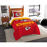 2 Piece NFL Kansas City Chiefs Comforter Twin Set, Sports Patterned Bedding, Featuring Team Logo, Fan Merchandise, Team Spirit, Football Themed, National Football League, Red, Yellow, Unisex