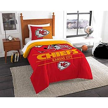 Image of 2pc NFL Kansas City Chiefs Comforter Twin Set, Football Themed, Sports Patterned Bedding, Fan Merchandise, Unisex, Red, Team Logo, Team Spirit, National Football League, Yellow