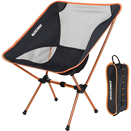 Ultralight Folding Camping Chair, Portable Compact for Outdoor Camp, Travel, Beach, Picnic, Festival, Hiking, Lightweight Backpacking (Orange) ()