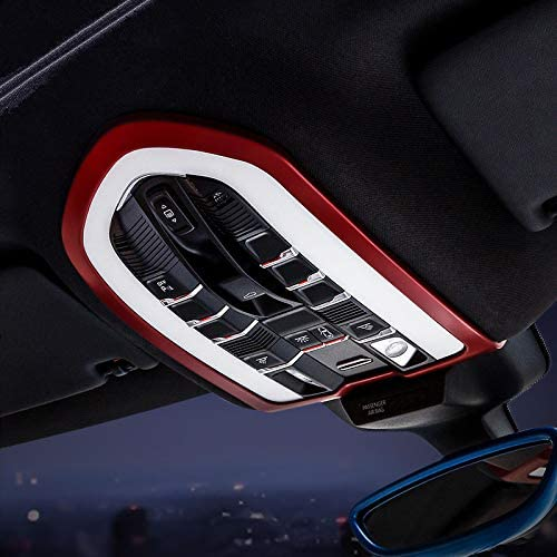 iJDMTOY 4pcs Sports Red Aluminum Decorative Door Lock Knob Covers Compatible With Porsche Cayenne Panamera Macan.