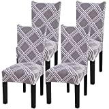 Fuloon Super Fit Stretch Removable Washable Short Dining Chair Protector Cover Seat Slipcover for Hotel,Dining Room,Ceremony,Banquet Wedding Party (4 Per Set, D)
