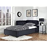Black Canvas Upholstered Twin Size Lounge Day Couch Bed Bedroom Furniture Decor.This versatile sleep-and-lounge piece goes from platform bed by night to cushy sofa by day.