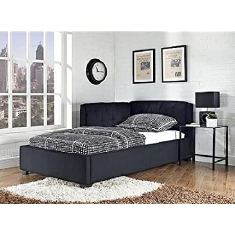 Black Canvas Upholstered Twin Size Lounge Day Couch Bed Bedroom Furniture Decor This Versatile Sleep And Lounge Piece Goes From Platform Bed By Night To Cushy Sofa By Day