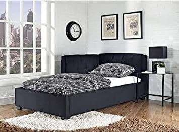 Cool Black Canvas Upholstered Twin Size Lounge Day Couch Bed Bedroom Furniture Decor This Versatile Sleep And Lounge Piece Goes From Platform Bed By Night Dailytribune Chair Design For Home Dailytribuneorg