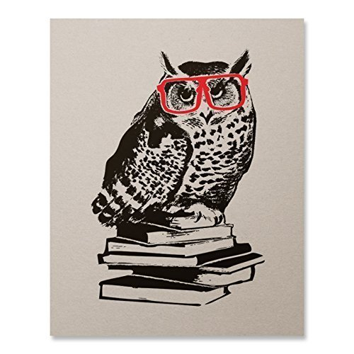 Poster Red Book (Hipster Owl Art Print Book Lover Literature Nerd Red Glasses Animal Poster Harry Potter Inspired Home Decor 8 x 10 inches)