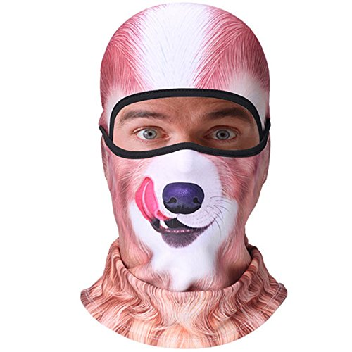 KAITUO 3D Animal Fleece Neck Warmer Windproof Full Face Mask Balaclava for Cold Weather Winter Outdoor Motorcycle Cycling Hunting Snowboard Ski Halloween (Golden Retriever Dog)
