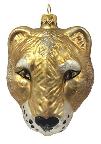 (Pinnacle Peak Trading Company Puma Cougar Head Figural Polish Glass Christmas Ornament Wild Cat Mountain)