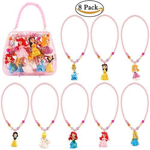 Dissytoys 8 PACK Princess Dress up Accessories Costume Necklace Kit Activity Gift Set for Princess Snow White Cinderella Ariel Belle Aurora Party (Ariel Pendant)