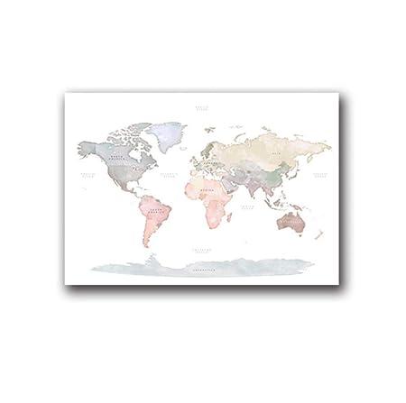 UDIYXC Acuarela Mapa del Mundo Cartel de la Lona Pintura ...