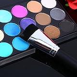 silverblack Makeup Brush, 2pcs Black and Silver&Black and Gold Colors Facial Contour Foundation Powder Brush Flat Top Cosmetic Makeup Tool (2Pcs)