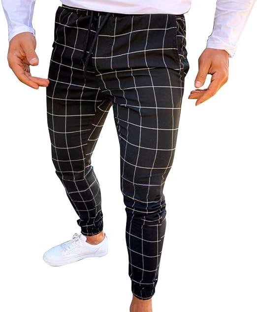 Huaheng Hombre Casual Estrecho Running Pantalón de Chándal ...