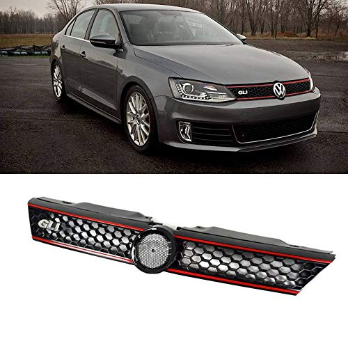 Mgpro 1pc Black Strong ABS Plastic Honeycomb Mesh Style Front Main Upper Grille With GLI Emblem & Red Trim Fit 11-14 Volkswagen Jetta MK6 4-Door Sedan Only -